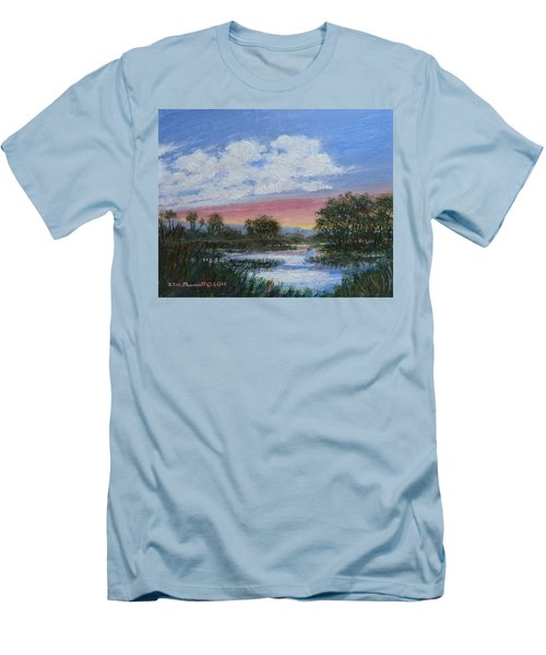 Men's T-Shirt (Slim Fit) featuring the painting Marsh Reflections by Kathleen McDermott