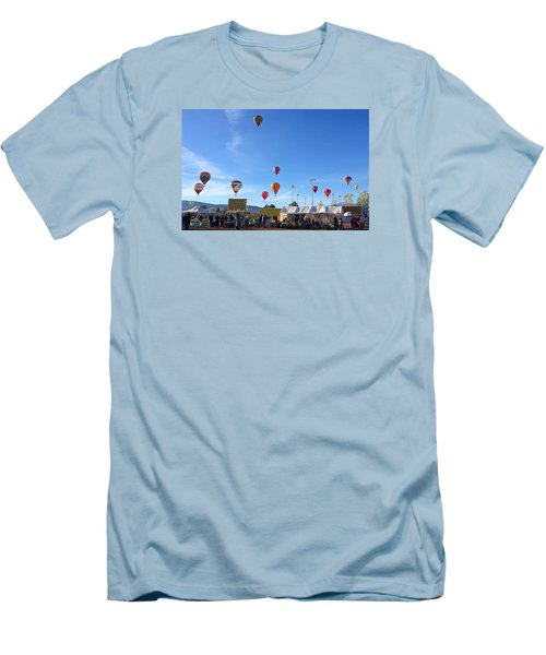 Men's T-Shirt (Slim Fit) featuring the photograph Mass Ascension Taos Balloon Festival by Brenda Pressnall