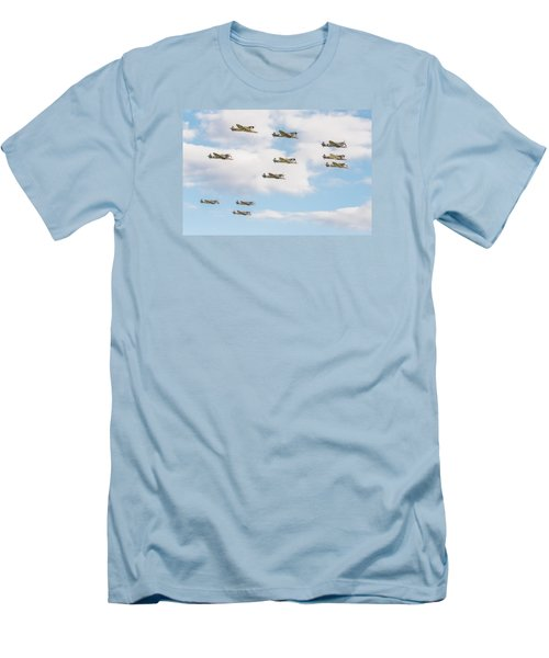 Massed Spitfires Men's T-Shirt (Slim Fit) by Gary Eason