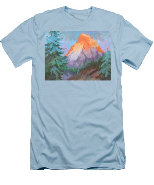 Men's T-Shirt (Slim Fit) featuring the painting Matterhorn Sunrise by Diane McClary