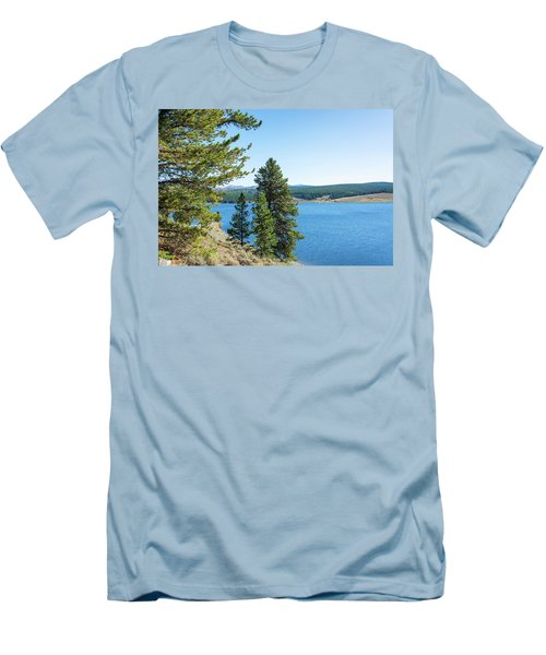 Meadowlark Lake And Trees Men's T-Shirt (Slim Fit) by Jess Kraft