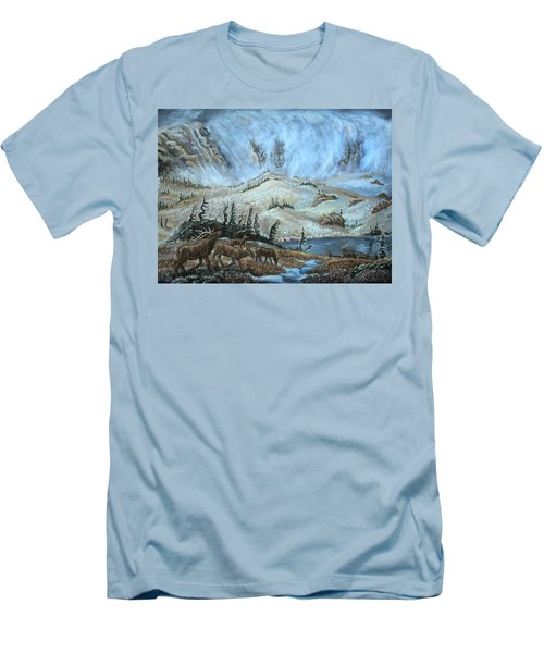 Men's T-Shirt (Slim Fit) featuring the painting Medicine Bow Peak In Clouds With Elk by Dawn Senior-Trask