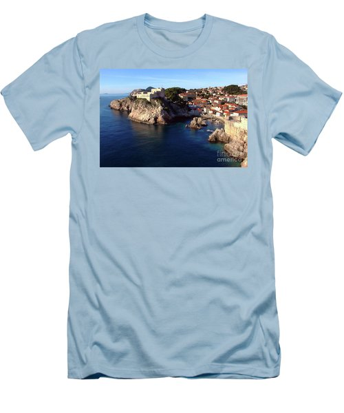 Medieval Fortresses Lovrijenac And Bokar Dubrovnik Men's T-Shirt (Slim Fit) by Jasna Dragun