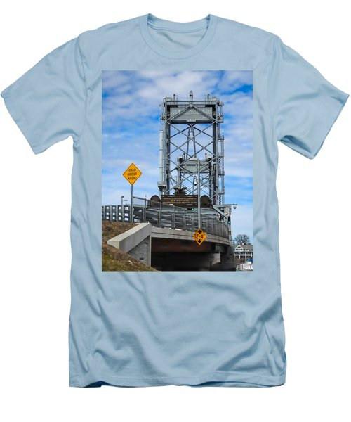 Memorial Bridge Portsmouth  Nh Men's T-Shirt (Slim Fit) by Nancy De Flon