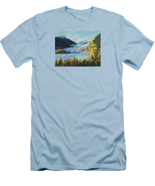 Men's T-Shirt (Athletic Fit) featuring the painting Mendenhall Glacier Juneau Alaska by Yulia Kazansky