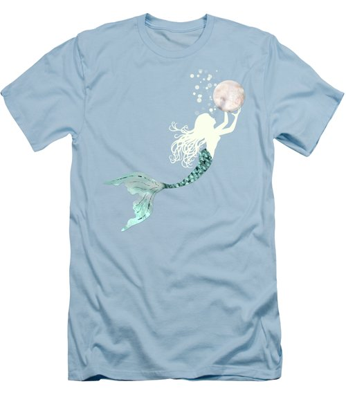 Mermaid Gathering Pearls Creamy White Siren Holds A Huge Pearl Men's T-Shirt (Slim Fit) by Tina Lavoie