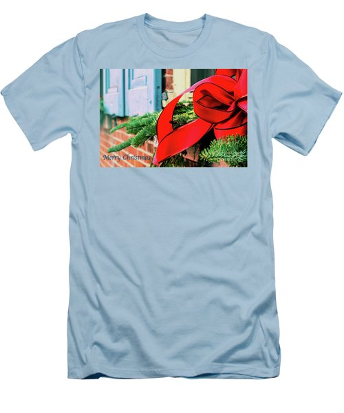 Merry Christmas Window Bow Men's T-Shirt (Athletic Fit)