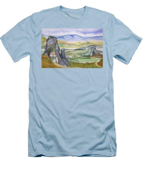 Men's T-Shirt (Slim Fit) featuring the painting Meteora by Teresa Beyer