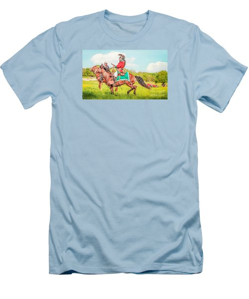 Men's T-Shirt (Slim Fit) featuring the mixed media Mexican Horse Soldiers by Kim Henderson