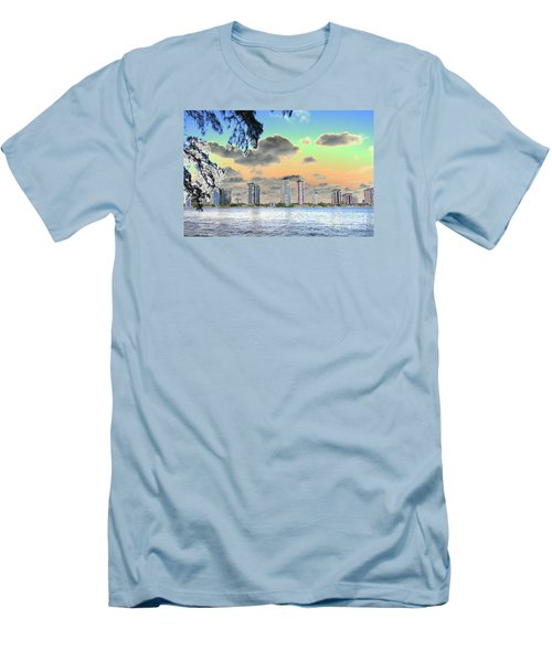 Miami Skyline Abstract Men's T-Shirt (Slim Fit) by Christiane Schulze Art And Photography