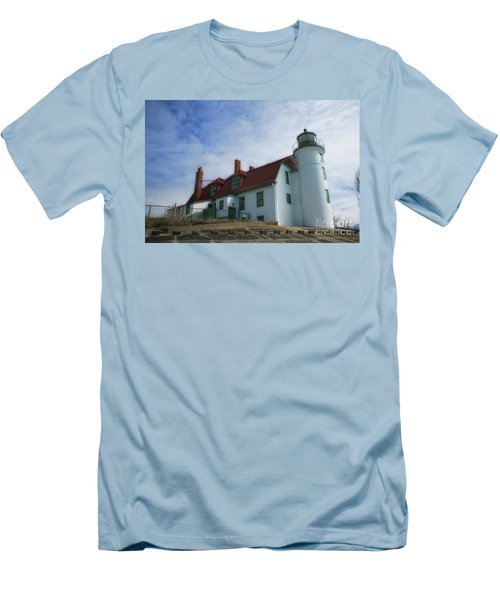 Men's T-Shirt (Slim Fit) featuring the photograph Michigan Lighthouse by Gina Cormier