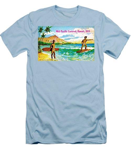 Mid Pacific Carnival Hawaii Surfing 1915 Men's T-Shirt (Slim Fit) by Peter Gumaer Ogden