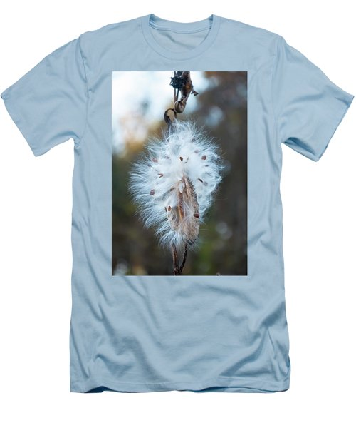 Men's T-Shirt (Slim Fit) featuring the digital art Milkweed And Its Seeds by Chris Flees