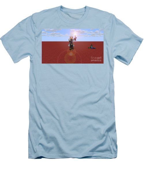 Men's T-Shirt (Slim Fit) featuring the digital art Minecraft Knight by Brindha Naveen