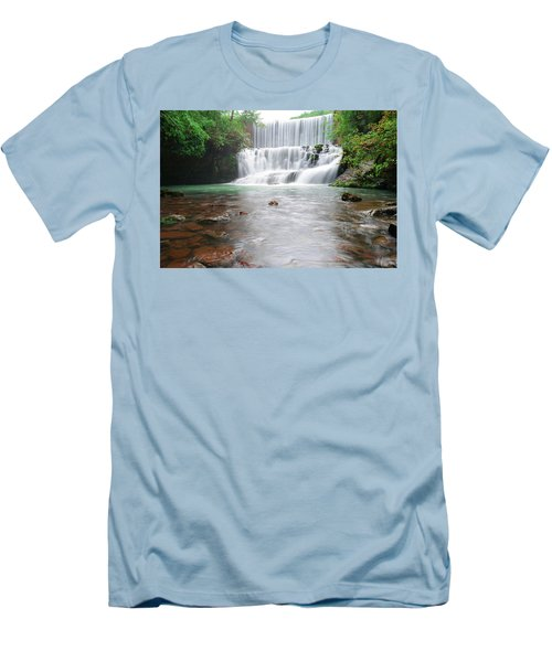Men's T-Shirt (Slim Fit) featuring the photograph Mirror Lake Falls 2 by Renee Hardison