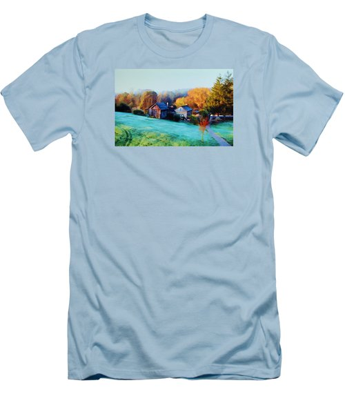 Men's T-Shirt (Slim Fit) featuring the photograph Misty Autumn Day by Diane Alexander