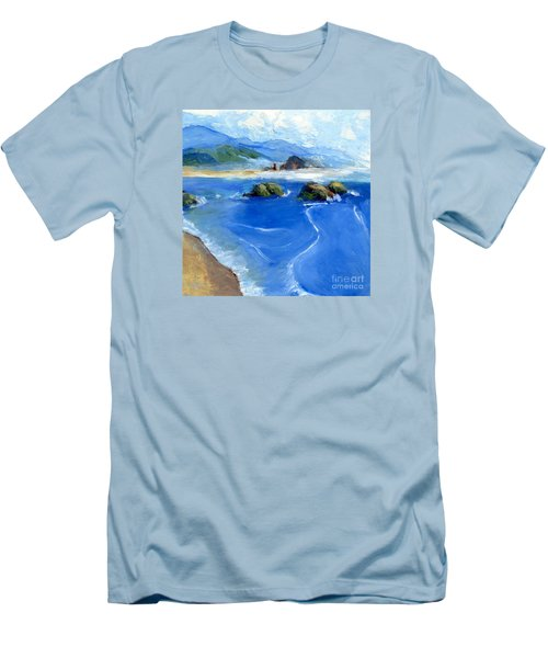 Misty Bodega Bay Men's T-Shirt (Slim Fit) by Randy Sprout