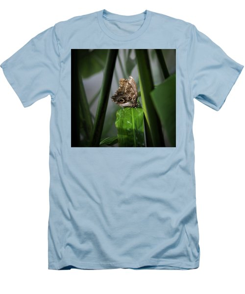 Men's T-Shirt (Slim Fit) featuring the photograph Misty Morning Owl by Karen Wiles
