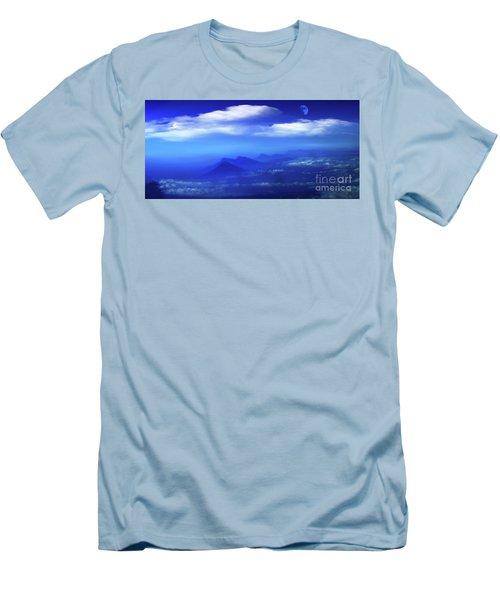 Misty Mountains Of San Salvador Panorama Men's T-Shirt (Slim Fit) by Al Bourassa