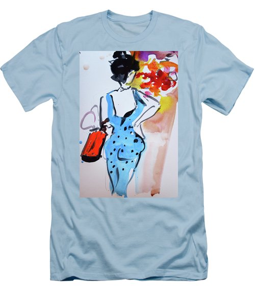 Model With Flowers And Red Handbag Men's T-Shirt (Slim Fit) by Amara Dacer