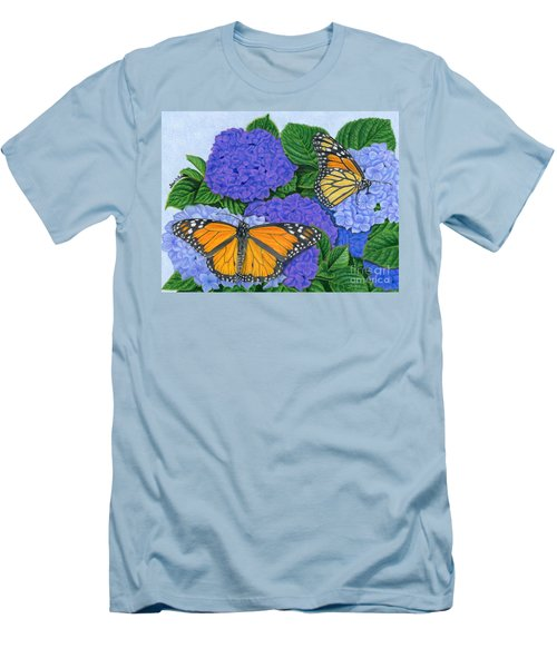 Monarch Butterflies And Hydrangeas Men's T-Shirt (Slim Fit) by Sarah Batalka