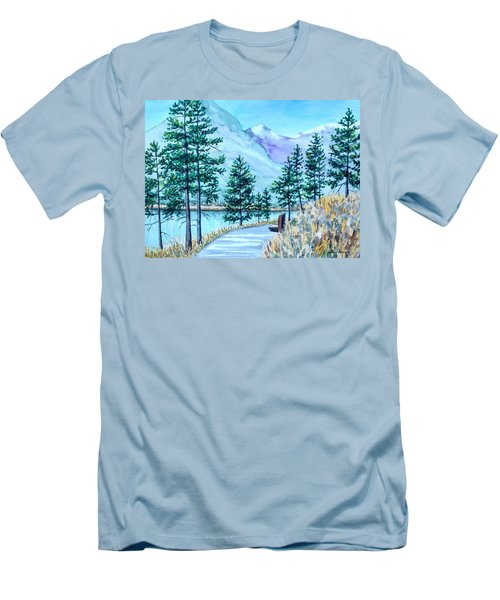 Montana Lake Como With Bench Men's T-Shirt (Athletic Fit)