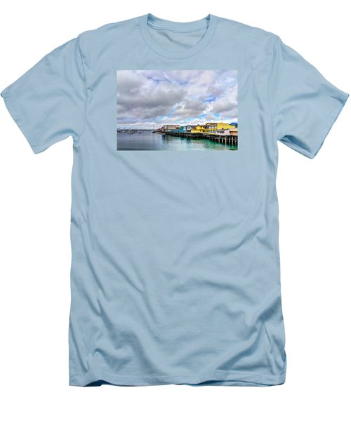 Monterey Wharf  Men's T-Shirt (Slim Fit) by Derek Dean