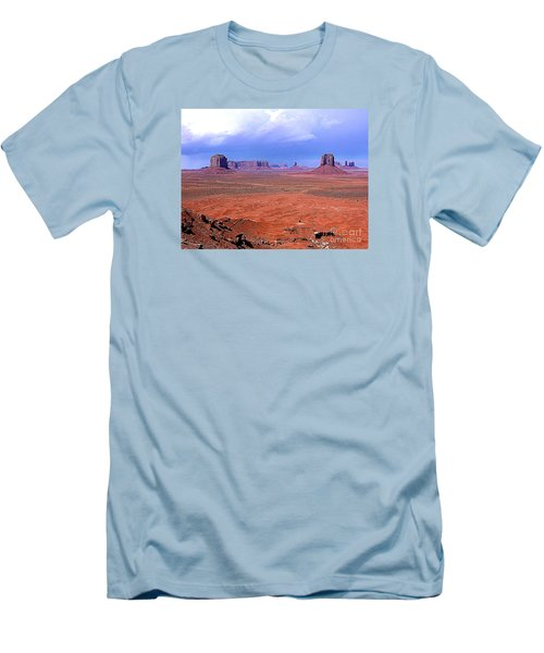 Men's T-Shirt (Slim Fit) featuring the photograph Monument Valley Panorama Landscape by Merton Allen