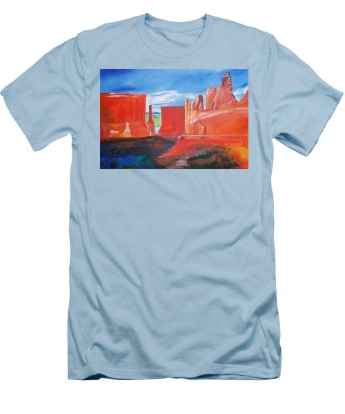 Men's T-Shirt (Slim Fit) featuring the painting Monument Valley  by Eric  Schiabor