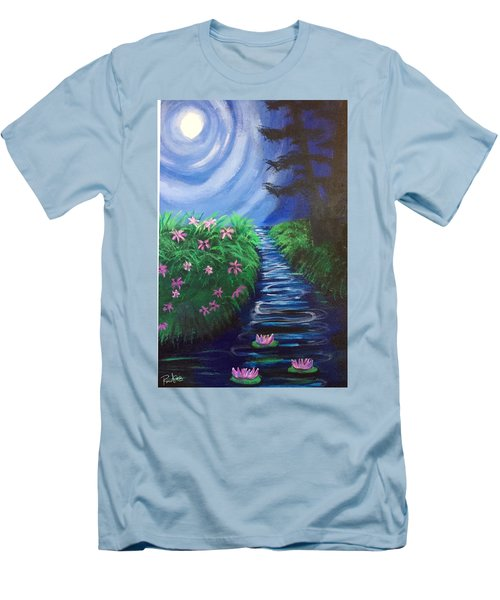 Men's T-Shirt (Slim Fit) featuring the painting Moonlit Stream by Diana Riukas