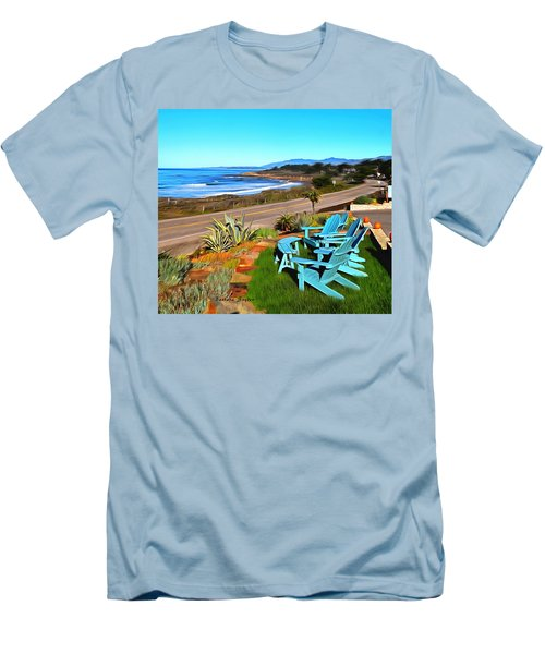 Men's T-Shirt (Slim Fit) featuring the photograph Moonstone Beach Seat With A View Digital Painting by Barbara Snyder