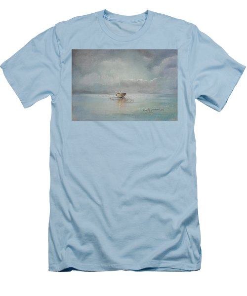 Moored Boat Men's T-Shirt (Slim Fit) by Marty Garland