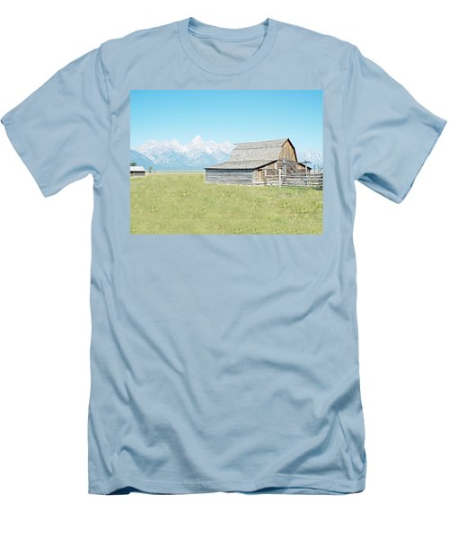 Men's T-Shirt (Slim Fit) featuring the photograph Mormon Row Barn - Grand Tetons by Joseph Hendrix