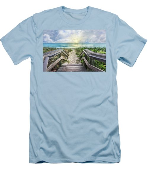 Men's T-Shirt (Slim Fit) featuring the photograph Morning Blues At The Dune by Debra and Dave Vanderlaan