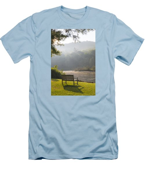 Morning Rays On The Pond And Bench Men's T-Shirt (Athletic Fit)