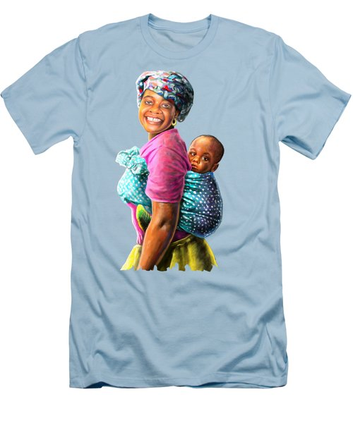Mother And Child Men's T-Shirt (Slim Fit) by Anthony Mwangi