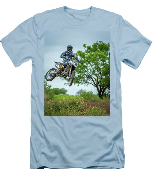 Men's T-Shirt (Slim Fit) featuring the photograph Motocross Aerial by David Morefield