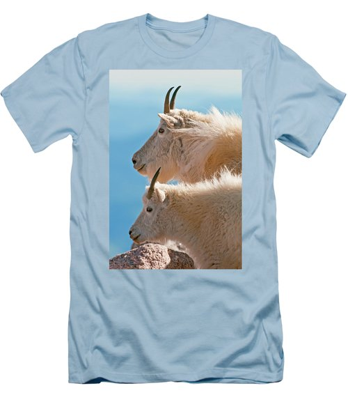 Men's T-Shirt (Athletic Fit) featuring the photograph Mountain Goats by Gary Lengyel