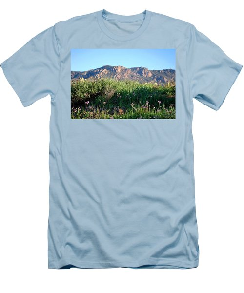 Men's T-Shirt (Athletic Fit) featuring the photograph Mountain Landscape View - Purple Flowers by Matt Harang