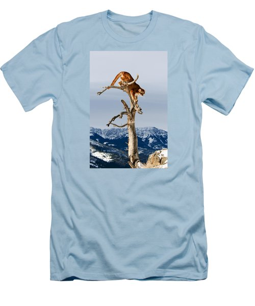 Mountain Lion In Tree Men's T-Shirt (Athletic Fit)