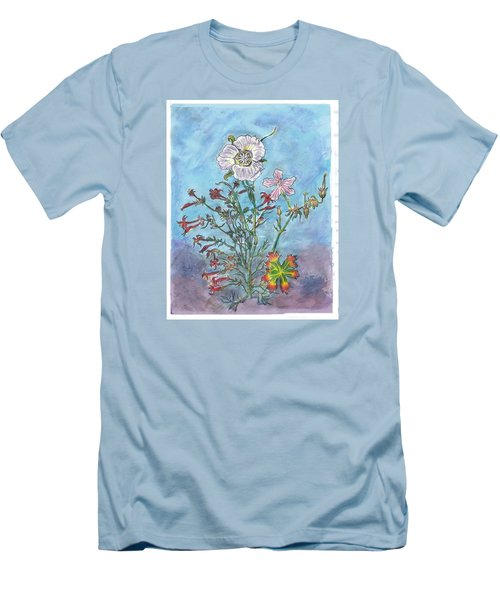 Men's T-Shirt (Slim Fit) featuring the painting Mountain Wildflowers II by Dawn Senior-Trask