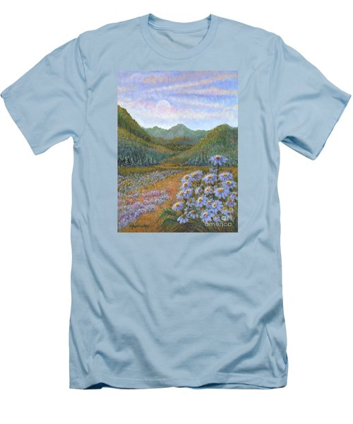 Mountains And Asters Men's T-Shirt (Slim Fit) by Holly Carmichael