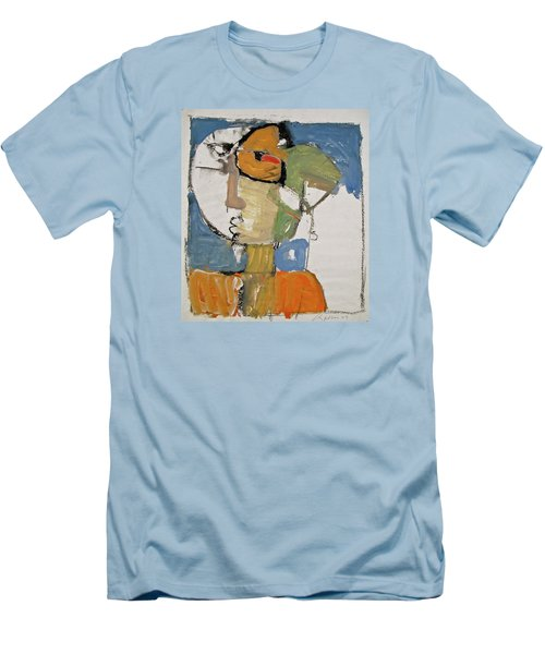 Men's T-Shirt (Slim Fit) featuring the painting Ms Abby Strac Had One Good Eye by Cliff Spohn
