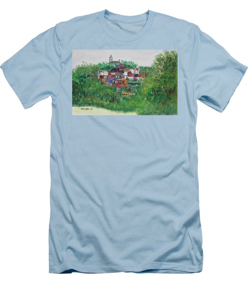 Men's T-Shirt (Slim Fit) featuring the painting Mt. Adams  Cincinnati Ohio by Diane Pape
