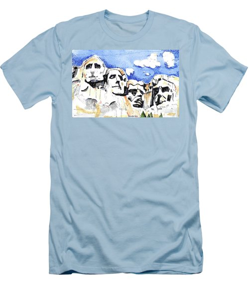 Men's T-Shirt (Slim Fit) featuring the painting Mt. Rushmore, Usa by Terry Banderas