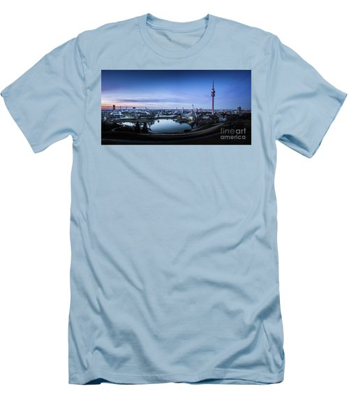 Men's T-Shirt (Slim Fit) featuring the photograph Munich - Watching The Sunset At The Olympiapark by Hannes Cmarits