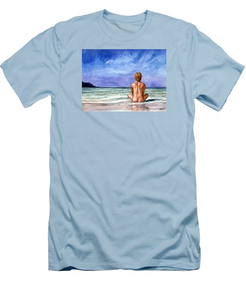 Naked Male Sleepy Ocean Men's T-Shirt (Athletic Fit)