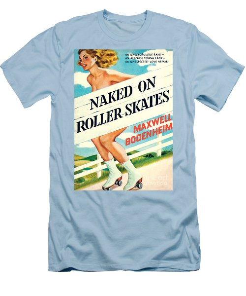 Men's T-Shirt (Slim Fit) featuring the painting Naked On Roller Skates by Peter Driben