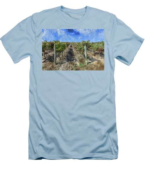 Napa Valley Vineyard - Rows Of Grapes Men's T-Shirt (Athletic Fit)