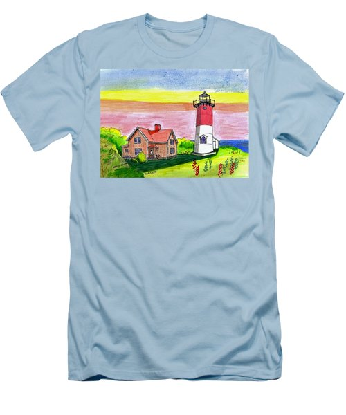 Nauset Point Lighthouse Men's T-Shirt (Athletic Fit)